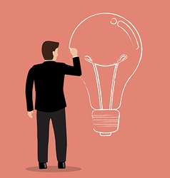 Businessman drawing lightbulb on wall vector image