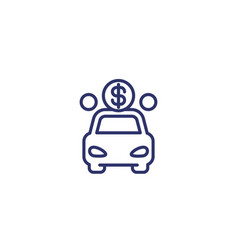 car payment line icon vector image