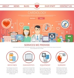 Cardiology flat page vector