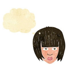 Cartoon annoyed girl with big hair with thought vector