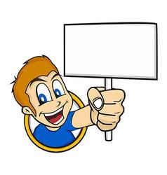 cartoon holding blank sign vector image