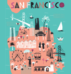 cartoon map san francisco california vector image