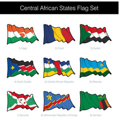 Central african states waving flag set vector