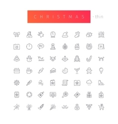 Christmas Thin Icons Set vector