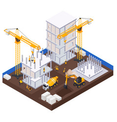 Construction industry isometric concept vector
