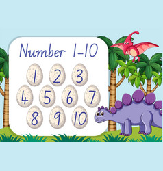 Count number one to ten dinosaur theme vector