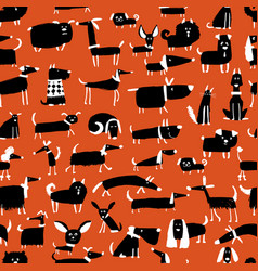 cute dogs collection seamless pattern for your vector image