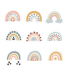 cute of boho rainbows set vector image