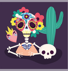 day dead skeleton flowers skull cactus and vector image
