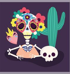 day dead skeleton flowers skull cactus vector image