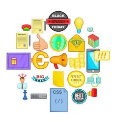 digital marketing icons set cartoon style vector image