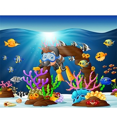 diver under the sea vector image vector image