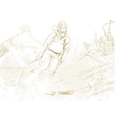 Downhill skier vector