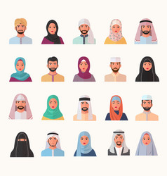 eastern muslim characters avatars set smiling vector image