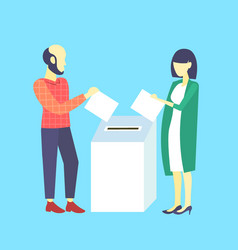 Election day concept casual woman man voters vector