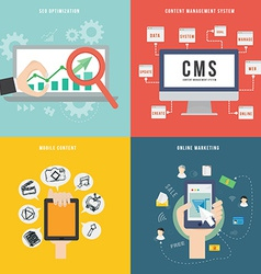 Element of SEO CMS mobile and marketing concept vector image