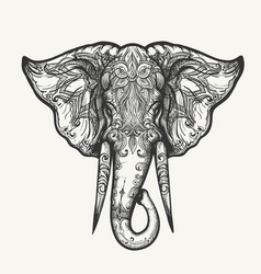 elephant head zentangle vector image