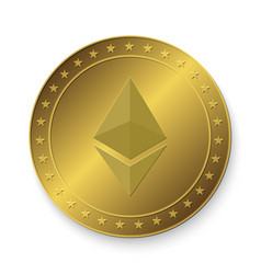 ethereum golden coin vector image