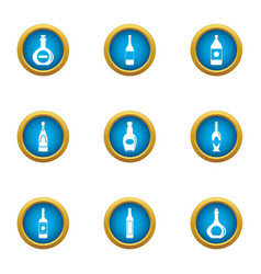 expensive glass icons set flat style vector image