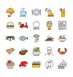 filled outline restaurant and food icons vector image