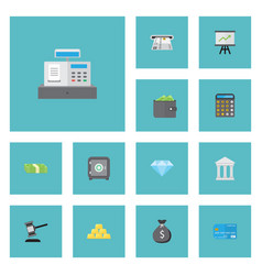 Flat icons accounting till teller machine and vector
