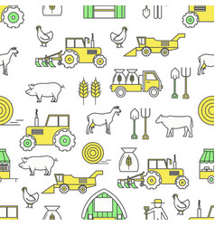 Flat line art farming seamless pattern vector
