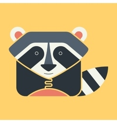 Flat square icon of a cute raccoon vector image