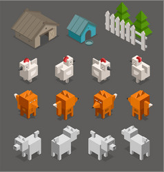 Fox chicken end dog character 3d isometric set vector