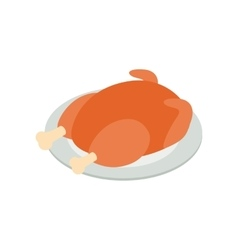 Fried turkey isometric 3d icon vector image