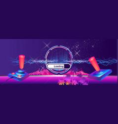 Futuristic horizontal banner retro joystick vector