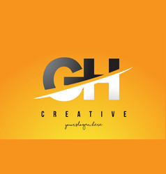 gh g h letter modern logo design with yellow vector image