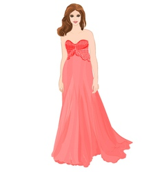 Girl figure in red long dress vector image