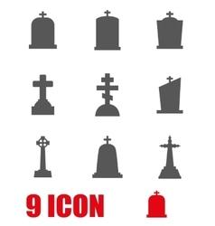 Grey gravestone icon set vector