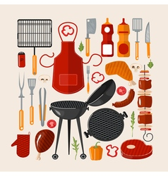 Grill Barbecue Set of Elements Grilled Food Set vector image