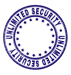 Grunge textured unlimited security round stamp vector