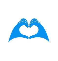 Hands in blue latex glove shows heart symbol vector