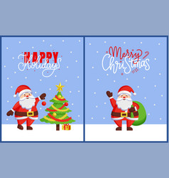happy holidays and merry christmas 2019 posters vector image