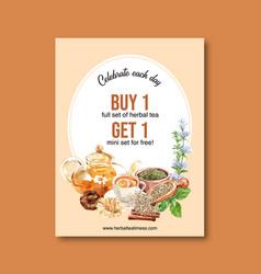 Herbal tea poster design with dry apricot tea pot vector