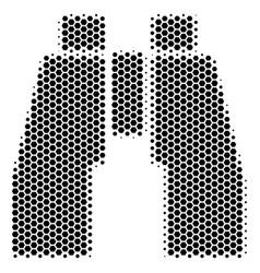 hexagon halftone find binoculars icon vector image
