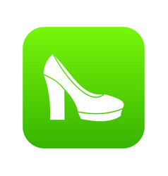 high heel shoes icon digital green vector image