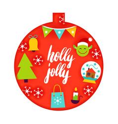 Holly jolly papercut concept vector