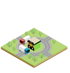 Isometric truckers cafe vector