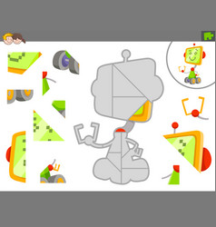 Jigsaw puzzle game with robot or droid vector