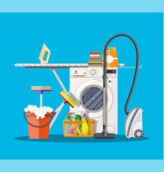 laundry room with washing machine vector image