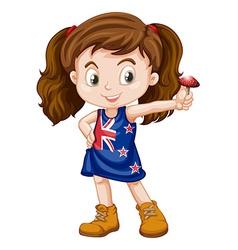 Little girl holding fresh mushroom vector