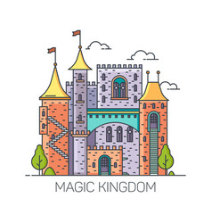 magic castle from fairy tales princess fort vector image