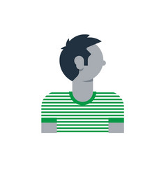 Man side view turned head boy in striped t-shirt vector