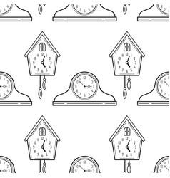 Mantel clocks and cuckoo clock black and white vector