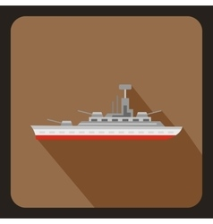 Military warship icon flat style vector image