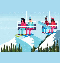 Mix race couples skiers on chairlift ski resort vector